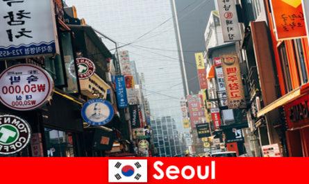 Сеул в Корея вълнуващия град на светлини и реклами за нощни туристи