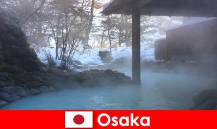 Осака Япония предлага на спа гостите да се къпят в горещи извори
